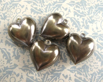 16x17mm Brass Ox Puffed Heart Charms Hollow New American Made (4)