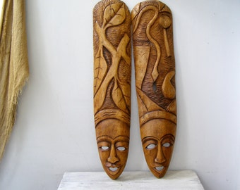 Adam and Eve Wooden Masks, Vintage Handcarved Folk Man Woman Face Figurines, Woodworking Biblical  Wall Art, Garden of Eden Religious Statue