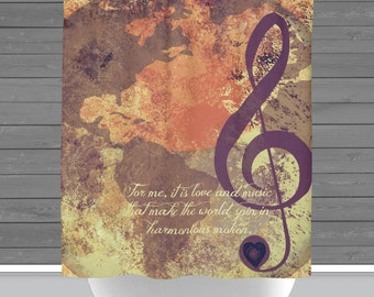 Music Shower Curtain: Love and Music Original Quote Treble Clef World Globe   Made in the USA   12 Hole Fabric Bathroom Decor