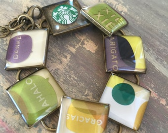 Resin Jewelry, Recycled jbracelets, Starbucks lovers, custom jewellry, Thanks a latte, thank you gift