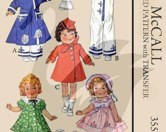 Reproduction Vintage Shirley Temple Doll Sewing Pattern McCalls 355