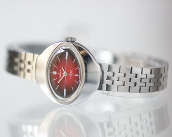 Cocktail watch, silver burgundy lady's watch, oval feminine mint condition watch, small watch, made for Summer Olympics Moscow