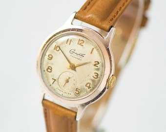 Mid century men's watch Start, gold shade classic watch, very rare simple gent's watch, premium leather strap new