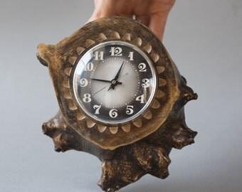 Wall clock Majak\Lighthouse, wooden clock Soviet, table clock mechanical, rare design hanging clock stump, wall decor clock