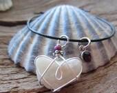 Love Heart February Birthstone Bracelet Amethyst Beach Boho Bridesmaid Gift