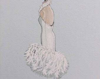 Original custom wedding dress sketch, bridal gown illustration, draw your bridal dress, flower girl sketch, made to order fashion sketch