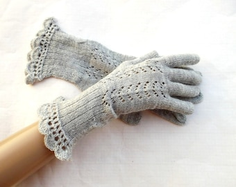 Knitted wool gloves, knit lace fingers gloves,  fishnet gloves with fingers, knitting gray hand warmers, women accessories, evening gloves,