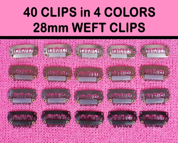 40 Weft Clips in 4 Colors - Snap Clips - Toupee Clips - Wig Clips - Extension Clips - Comb Clips - Wig Repair Clips