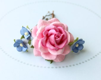 COTTAGE POSY . pink and blue flower hair pins . cottage chic paper blossoms