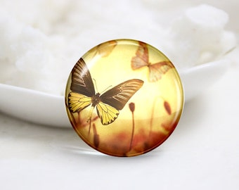 10mm 12mm 14mm 16mm 18mm 20mm 25mm 30mm Handmade  Photo Glass Cabochons -Butterfly (P1105)