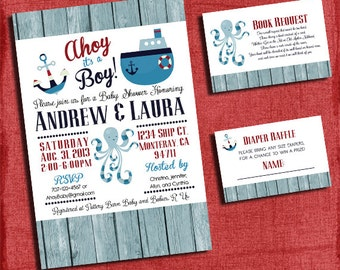 Printable Ahoy It's a Boy Nautical Themed Baby Shower Invitation Set -Invite + Diaper Raffle Ticket + Book Request  -I design you print