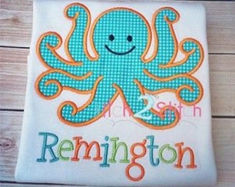 Octopus Applique shirt - Summer Design - Personalized Shirt - Boy's or Girl's Shirt
