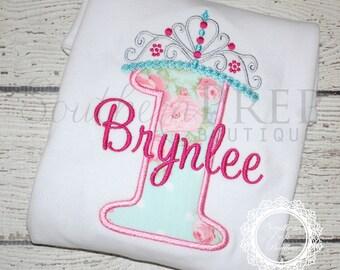 Girl's Princess Crown Applique Birthday shirt - Custom Fabric colors available - #1-8