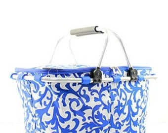 Monogrammed Market Tote - Royal Damask - Bridesmaids Gift - Summer Tote - Insulated