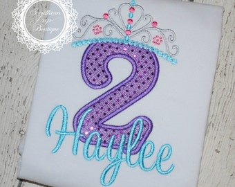 Girl's Princess Crown Applique Birthday shirt - FROZEN - Custom Fabric colors available - #1-8