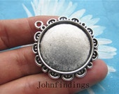10pc 33mm antiqued silver cabochon/cameo daisy flower base setting pendants--cab size  is 25mm