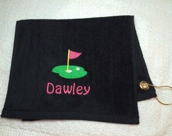 Black personalized golf towel