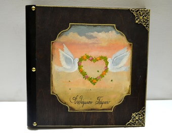 Wood for weddings, hand painted wedding, birds heart, scrap book, smash book, brag book, leather photo album, white birds heart