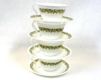 4 Hook Coffee Cups Saucers Spring Blossom Corelle Corning Ware Vintage White Green Floral Crazy Daisy Retro 1970