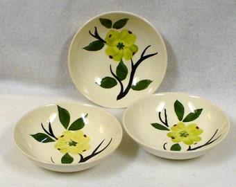 Vintage Joni Dixie Dogwood Hand Painted Berry Bowl Bowls Set of Three 5 1/4 in. Diameter Blue Ridge