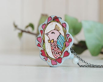 Cute Bird Necklace Hand Painted  Bird Pendant with Gemstone Long Vintage Inspired Necklace Cameo Necklace