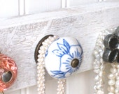 Necklace Organizer / Hanging Jewelry Rack with Pink, Blue, and Silver Knobs