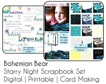 Starry Night Van Gogh Scrapbook Set, Instant Download Graphics, Gift Wrap, Card Making