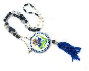 Hand made beaded necklace- Vintage style Iris flower pendant -Bead embroidery mirrow necklace -Mother's Day gift.