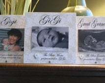 Gigi Gift (SELECT ANY GRANDMOTHER Name), Gigi Picture Frame, 4x6 photo, ceramic heart, Saying Choice, Gran Gift, Gran Picture Frame,, Heart