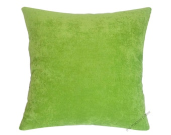 "Lime Green Velvet Decorative Throw Pillow Cover / Pillow Case / Cushion Cover / 18x18"" Square"
