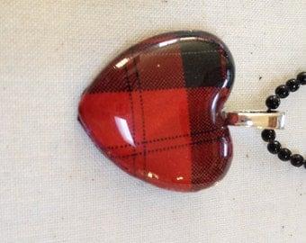 Plaid Pattern Glass Heart Pendant