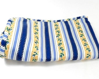 Waverly Fabric - Yellow and Blue Floral Stripe -  Decorator Fabric - Polished Cotton Sham - Antoinette - Waverly Fancy Pantry Collection