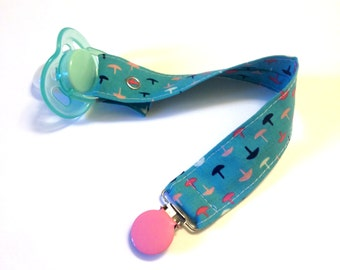 Baby Pacifier Clip, Paci Clip, Binky Holder, Cotton and Steel, Blue, Pink, White