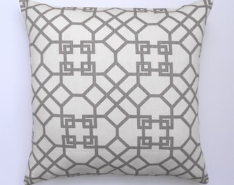Designer pillow cover, Windsor Smith for Kravet,  haze pelagos,  gray trellis pillow