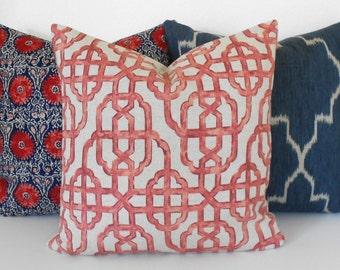 Red trellis decorative pillow cover, imperial lattice pillow