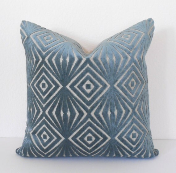 Decorative pillow cover, teal blue, cut velvet, retro diamonds, accent pillow, throw pillow