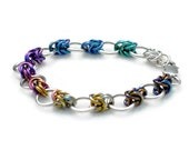 Sterling Silver Bracelet with Rainbow Ombre Niobium  - Ready to Ship