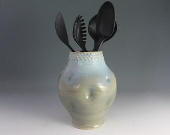Utensil Holder - Blue thumbprint vase - clearance sale