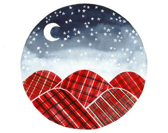 Original watercolor painting Red plaid blanket mountains Starry night and moon nursery wall art