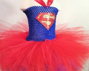 Super Girl Inspired Tutu dress - Superhero costume - Super Hero Costume - Superhero - Birthday outfit - Super girl