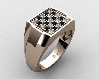 Mens Modern 14K Rose Gold Chess Pattern Black and White Diamond Designer Ring R326M-14KRGDBD4