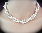 Twisted pearl necklace ~ Swarovski pearls and crystals ~ 2 strands ~ Bridal jewelry ~ Brides necklace  ~ Pearl statement necklace ~ STUNNING