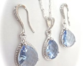 Light blue necklace and earring set - Something blue ~ Teardrop set - Sterling Silver - Brides Jewelry set - Bridesmaid jewelry - Gift -