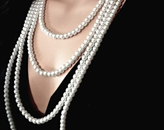 Swarovski pearl necklace ~ Long ~ Multi layer ~ 4 strands ~ Bridal jewelry ~ Romantic ~ Vintage Victorian Style ~ Statement Necklace ~