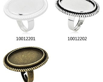 10PCS Ring Base Setting  with 18x25mm Oval bezel, fit 18x25mm oval cabochons