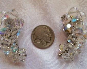 "Aurora Borealis AB Crystals Oversize 1 5/8""L 1960s Clip-On Earrings for Wedding or Other"