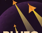 Pluto Retro Planetary Travel Poster