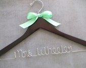 Wooden Wedding Hanger, Mint Green Bridal Hanger, Wire Wedding Hanger, Personalized Hanger, Bride Hanger with Bow, Engagement Gift
