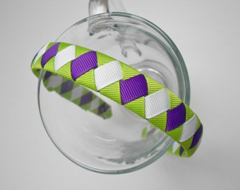 Green, White, and Purple Tinkerbell Inspired Woven Headband