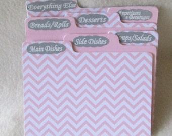 Recipe Box Dividers for Pink & Gray Chevron Recipe Box